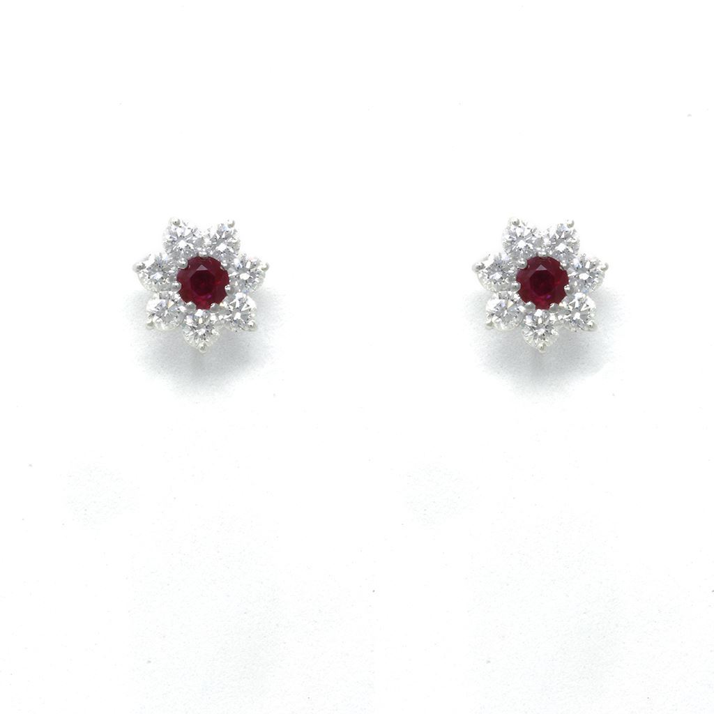 Picture Of Ruby Diamond Earrings