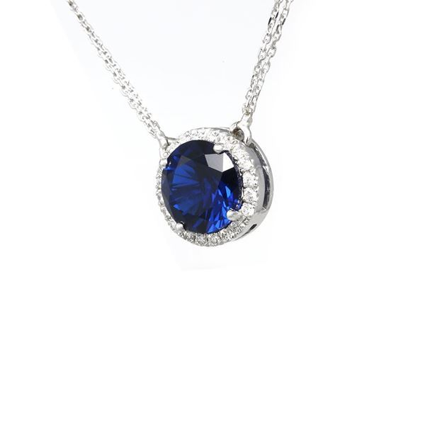 Picture of Synthetic Blue Sapphire Circle Pendant