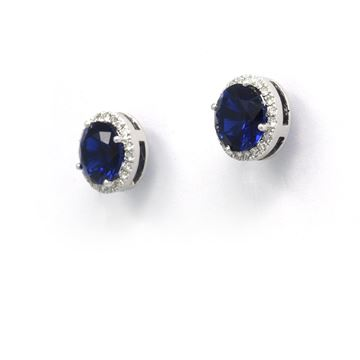 صورة Treated Sapphire & Diamond Earrings