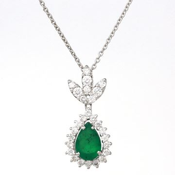 Picture of Pear-Shape Emerald and Diamond Drop Pendant