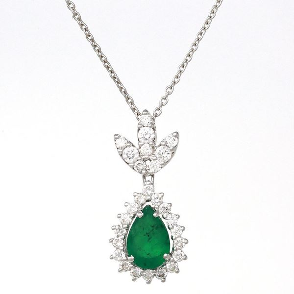 صورة Pear-Shape Emerald and Diamond Drop Pendant