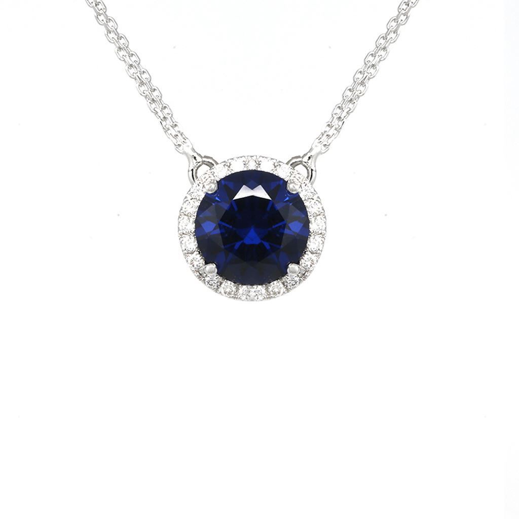 diamond necklace products halo sapphire yassy blue white gold