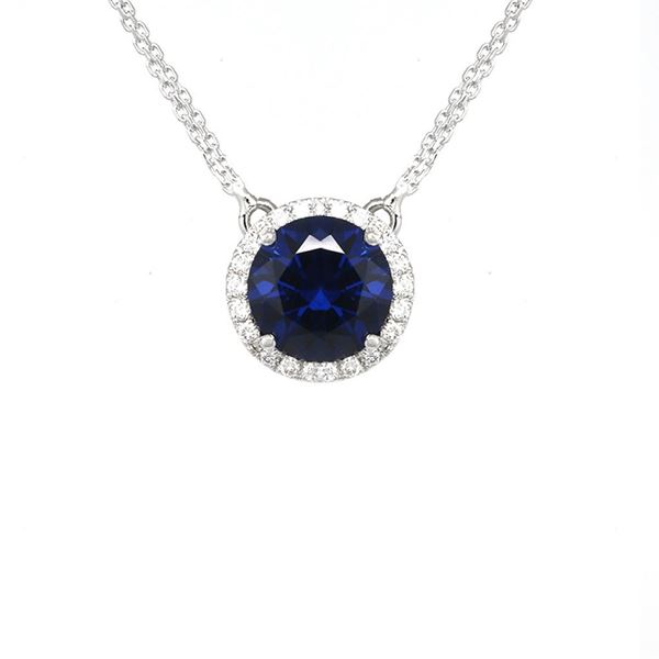 صورة Synthetic Blue Sapphire Circle Pendant