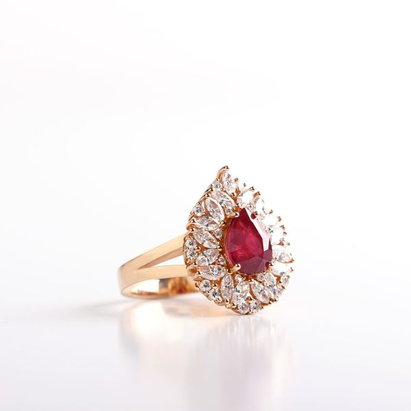 صورة Pink Gold Diamond And Ruby Ring
