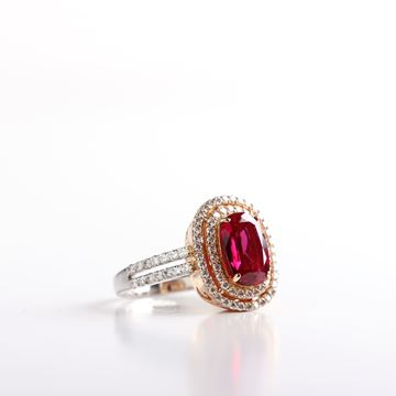Picture of White And Pink Gold Diamond And Ruby Ring
