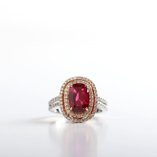 صورة White And Pink Gold Diamond And Ruby Ring