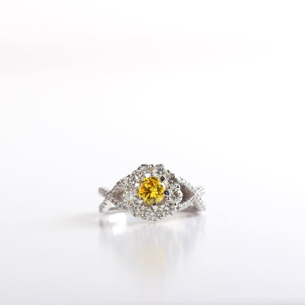 Picture of Canary Citrine Diamond Ring