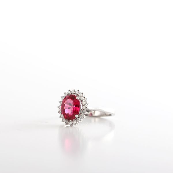 Picture of White Gold Diamond And Ruby Ring