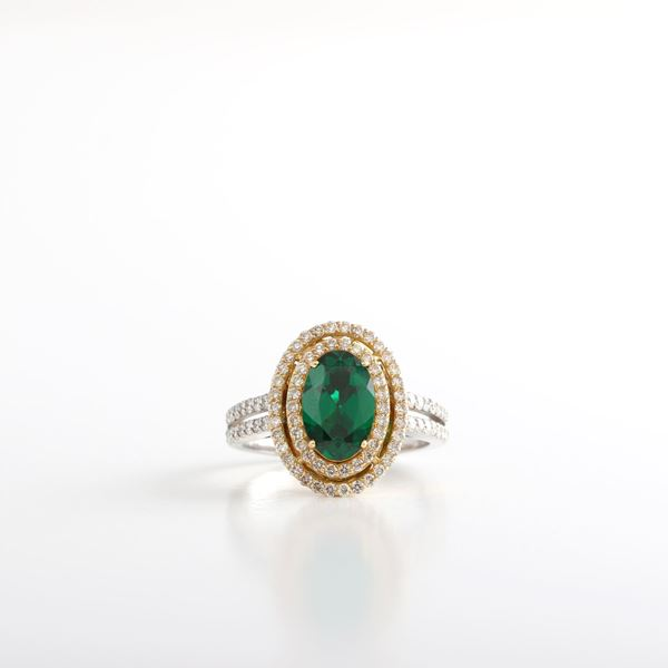 صورة Treated Emerald & Diamond Ring