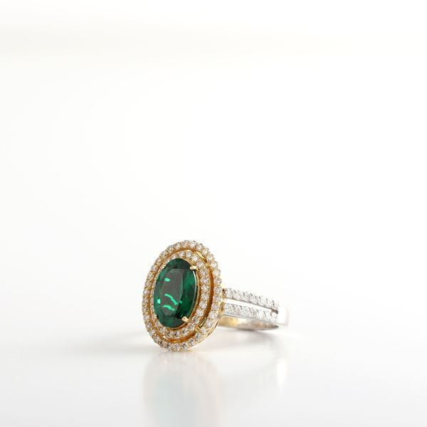 Picture of Treated Emerald & Diamond Ring