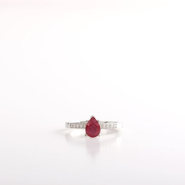 صورة Pear Ruby Ring