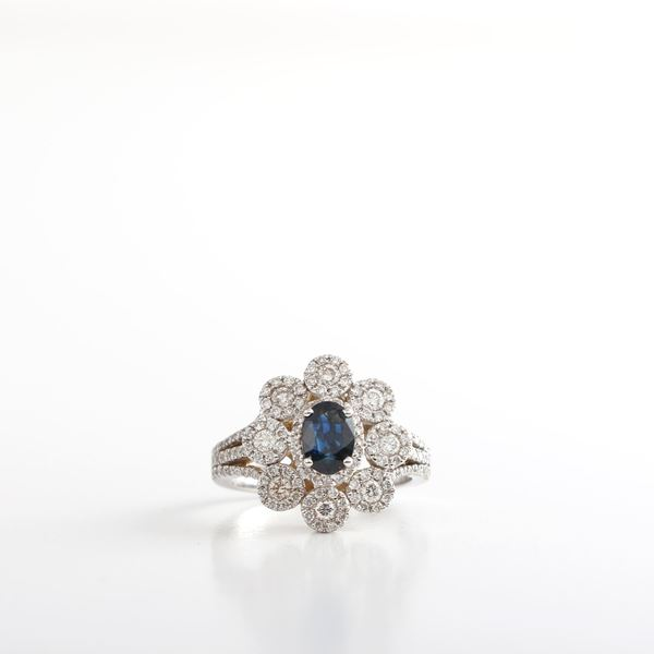 Picture of Diamonds & Genuine Sapphire Ring