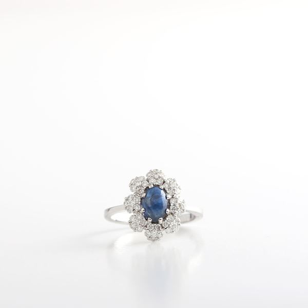 Picture of Sapphire & White Diamond Ring