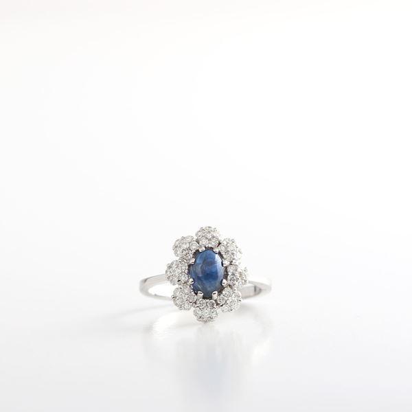 صورة Sapphire & White Diamond Ring