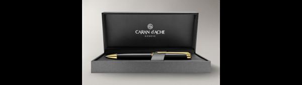 Gold-Plated Leman Ebony Black Ballpoint Pen In Box Open
