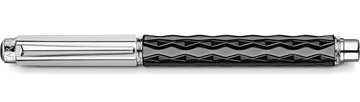 Silver-Plated, Rhodium-Coated Varius Ceramic Black Roller Pen Horizontal View