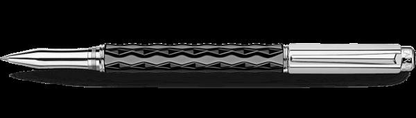 Silver-Plated, Rhodium-Coated Varius Ceramic Black Roller Pen Open View