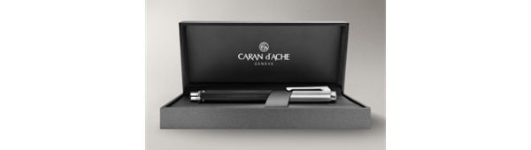 Silver-Plated, Rhodium-Coated Varius Rubracer Ballpoint Pen In Box Open
