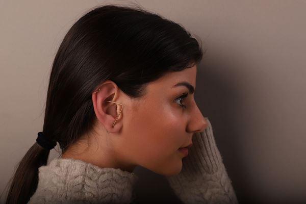 J.R.S. Triangle Hoop Earring Side View