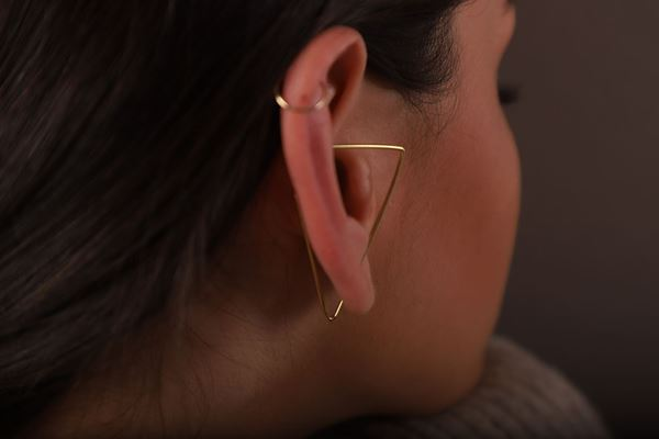 J.R.S. Triangle Hoop Earring Back View