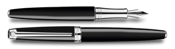 Silver-Plated, Rhodium-Coated Leman Ebony Black Fountain Pen Horizontal View