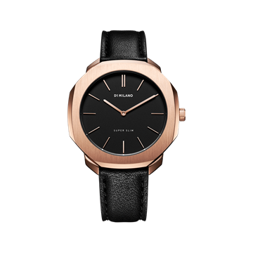 Black&Rose Gold Super Slim 36 mm Front View