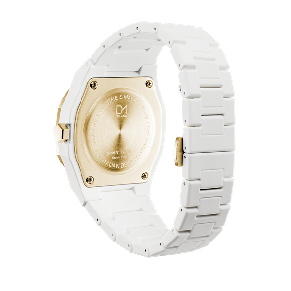 White&Gold Polycarbon 40.5 mm Back Side View
