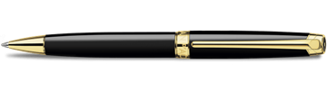 Gold-Plated Leman Ebony Black Ballpoint Pen Horizontal View
