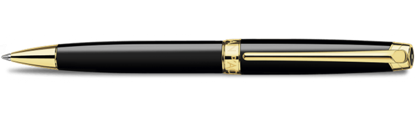 Gold-Plated Leman Ebony Black Ballpoint Pen Horizontal View