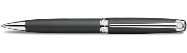 Silver-Plated, Rhodium-Coated Leman Black Matt Ballpoint Pen Horizontal View