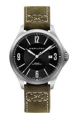 Khaki Aviation Automatic Black Dial Olive Leather Front View