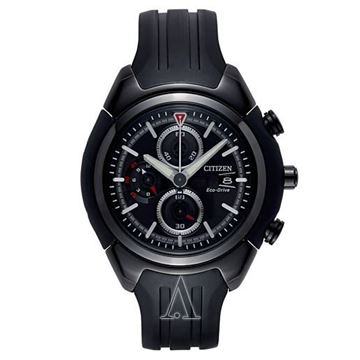 Chronograph Black Rubber Strap Front View