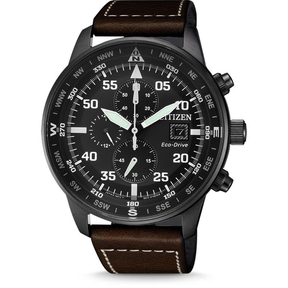 Citizen Eco-Drive Chronograph Aviator Black Case Dial  0f3f318a4e60