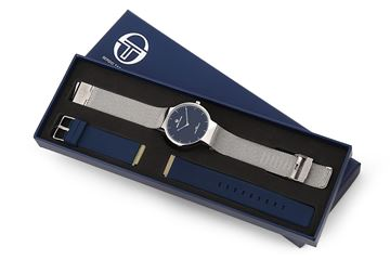 Double Bands Navy Blue&Silver In Box View