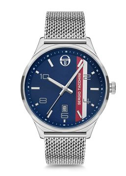 Archivio Stainless Steel Blue Dial Front View