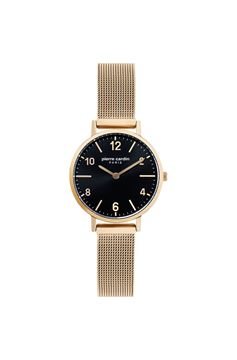 Ladies Rose Gold Bracelet&Black Dial Front View