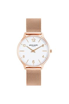 Ladies Rose Gold White Dial Front View
